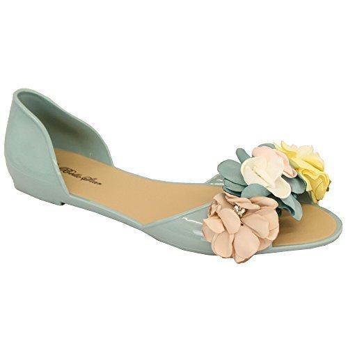 Décontractées S60 Ouvert Diamante Enfiler Sandales Bello Chaussures À Vert Star Floral Plates Femmes Bout Perle 6gUW74g1