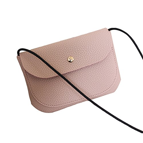 Bag Crossbody Fashion Shoulder Color Bag Solid Leather Women Faux Pink Mini Oce180anYLV Messenger PdzOaxwqz