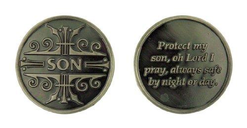 (Silver Tone Faithful Protector Pocket Token with Prayer - Son )