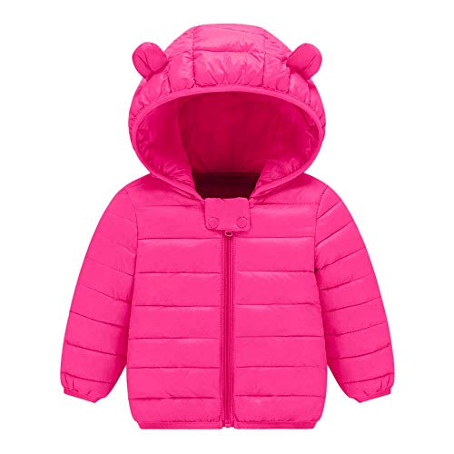 Dolwins Kids with Hoods Light Puffer Jacket for Baby Boys Girls, Infants, Toddlers(Hot Pink-12-18 Months) -