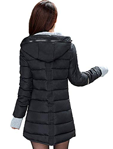 Parka Chaud Longues Elgante Hiver Grande Stepp Femme Taille Veste Slim Chemine Capuchon Hiver Mode paissir Outerwear Fit Costume Noir Manches Longues Ow1IqExOr