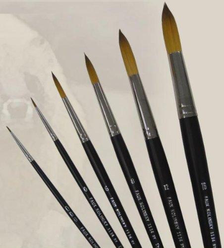 Dynasty Faux Kolinsky Series 1114 - Round Brush (Short Handle) - Size 16 (one brush) by Faux Kolinsky by Dynasty