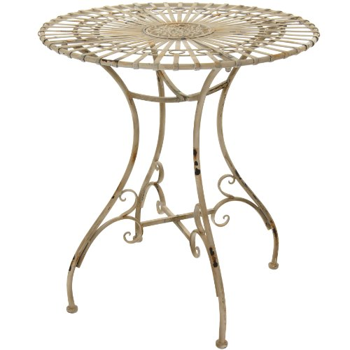 Oriental Furniture Rustic Garden Table – Distressed White For Sale