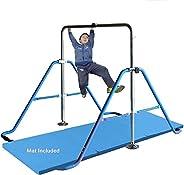 Gymnastics Training Bar for Kids with 6'x2' Tumble Mat   Adjustable Horizontal Kip Bar Home Gym Equipm