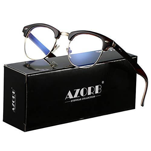 AZORB Retro Blue Light Blocking Computer Glasses Semi-Rimless Eyeglasses Frame Horn Rimmed (Brown) - Eyeglasses Brown Metallic Frame