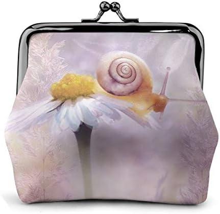 ホワイトサン がま口 財布 小銭入れ デイジー 花 フローラ 11.5cm×10.5cm×3cm レザー 小物入れ コインケース