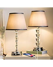 Focondot Bedside Lamp, Exquisite Crystal Lamp with Dual USB Ports, Dimmable Touch Lamp Include 2 Edison Bulbs, Gray Fabric Table Lamps for Bedroom,Living Room,Office(Set of 2)