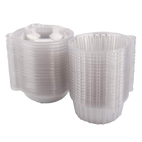 Cake Boxes-100 Clear Plastic Single Cup Cake Boxes Holder Muffin Case Patty Container Cupcake Carriers Baking Cups