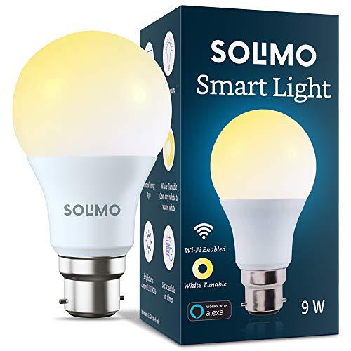 Amazon Brand – Solimo Wi-Fi Smart Light, 9W, B22 Holder, Alexa Enabled (Yellow/Light Yellow/White)
