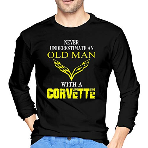 (Never Underestimate an Old Man with A Corvette Long Sleeve T-Shirt Crew Neck Long Sleeve Printed Shirt Graphic Tee Tops Black)