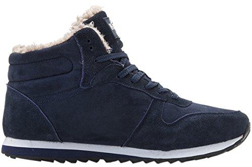 Gaatpot Men's Ladies Flat Hi-Top Sneakers Winter Warm Fur Lined Snow Boots Ankle Booties Shoes Size Blue QUhnaf73d