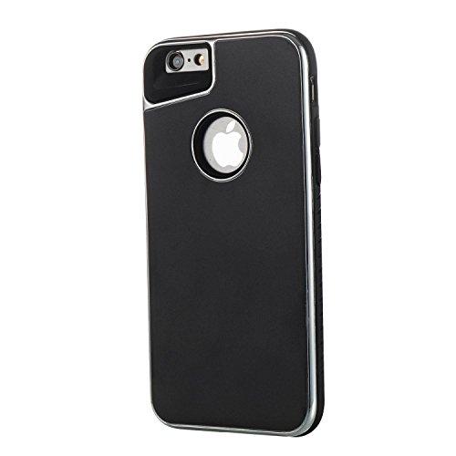 SRY-Bolsa para teléfono móvil Caja doble extraíble del teléfono de la contraportada para IPhone 6 y 6s ( Color : Rosegold ) Black