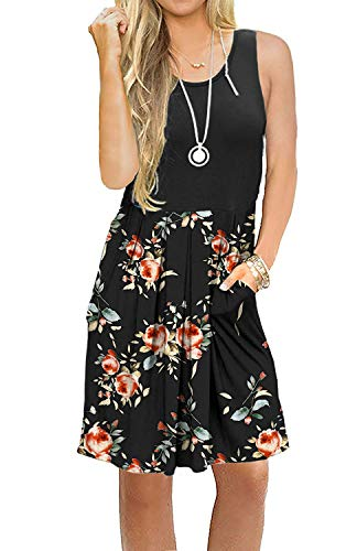 (AUSELILY Women's Sleeveless Pleated Loose Swing Casual Dress with Pockets Knee Length (XL, Black Rose)