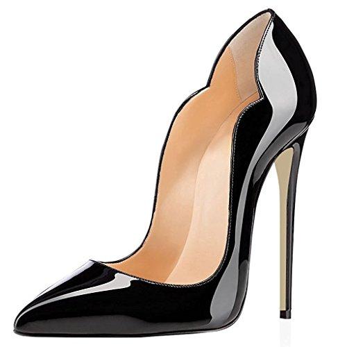 (Eldof Women High Heels Pumps | Pointed Toe Cut Out Stiletto | 12cm Classic Elegante Court Shoes US5 Black)