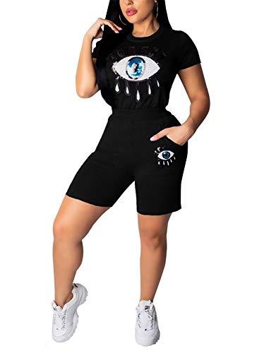 Women Summer 2 Piece Outfits Short Sleeve Tops
