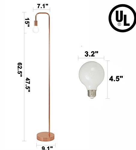 Floor Lamp for Living Room, Industrial Rose Gold Metal Reading Lamp, Contemporary Bedroom Décor, Led Bulb 4W Gifts by LA JOLIE MUSE (Image #5)