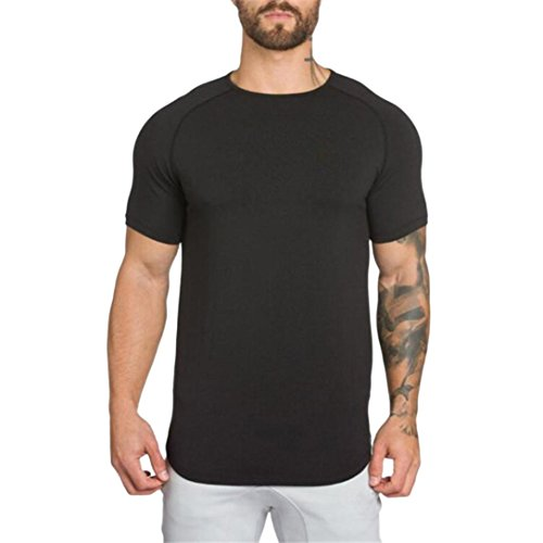 Wintialy Men's Gyms Crossfit Bodybuilding Fitness Muscle Short Sleeve T-Shirt Top Blouse Black ()