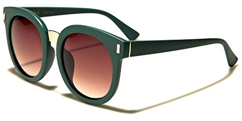 Moss Green Amber Thick Round Vintage Shaped Women'S Designer Sunglasses (561 Glasses)