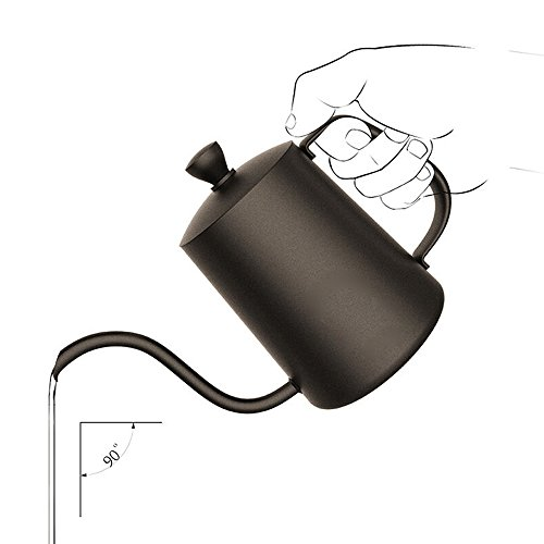 (TAMUME 600ML Black Teflon Coating 5mm Gooseneck Spout Drip Pot for Coffee Service Stainless Steel Drip Tea Kettle for Drip Coffee (600ml))