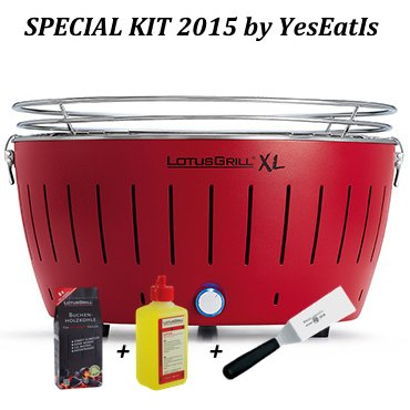 LOTUGRILL XL Special Kit 2015 by YesEatIs - Smokeless Charcoal BBQ + 1Kg of LotusGrill Charcoal + 1 LotusGrill Safety Fuel Gel + 1 Grill Spatula - RED XL