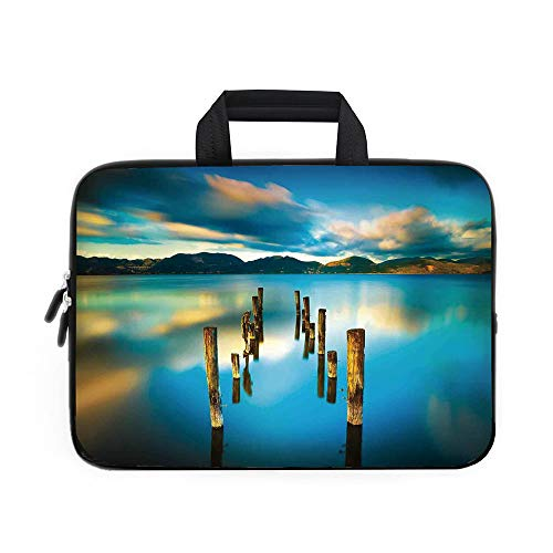 Scenery House Decor Laptop Carrying Bag Sleeve,Neoprene Sleeve Case/Surreal Landscape with Wood Deck and Clouds in Sky Coastal Charm/for Apple Macbook Air Samsung Google Acer HP DELL Lenovo AsusTurquo - Beans Coastal