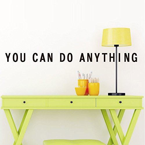(Motivational Quote Wall Decal: Inspirational Saying Adhesive Wall Sticker Decals Art Quality Vinyl Transfer Easy Application and Removal Beautiful Home Office School College Decoration (You Can))