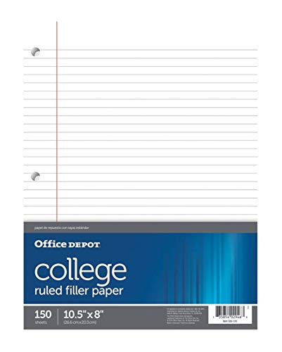 Office Depot Notebook Filler Paper, College-Ruled, 8in. x 10 1/2in, 3-Hole Punched, White, Pack Of 150, 09251OD