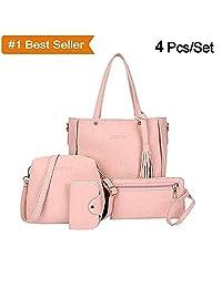 466eec38459 Xixou Big 4Pcs Set Women Faux Leather Handbag Shoulder Bag Tote Purse  Messenger Clutch Grey
