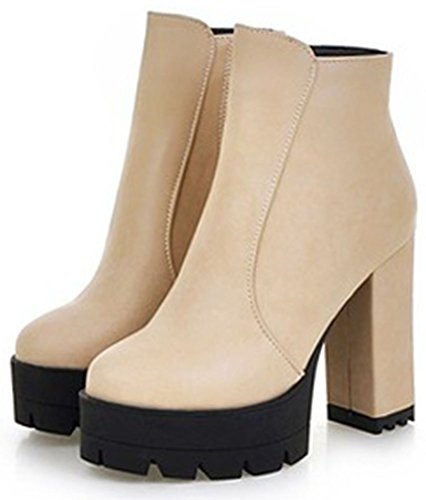Easemax Beige Fashion Women's Toe Side Platform Zipper Boots Round Heeled Ankle Chunky High rBrOq7w