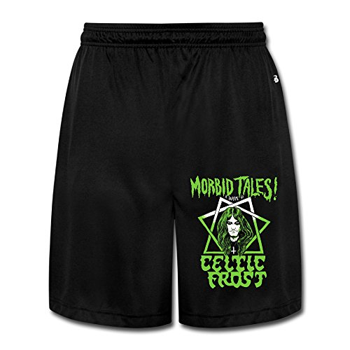 (Duola Men's Short Workout Pants Celtic Tale Story Black Size XXL)