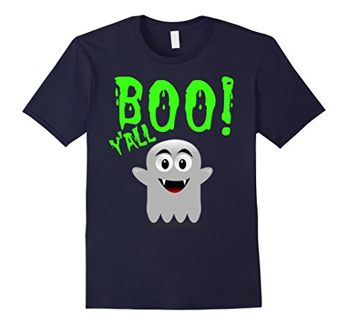 Mens Boo Y'All Halloween T-Shirt Ghost Costume Neon 80s Green Large Navy