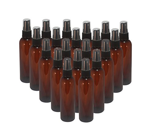 Botanical Bottle (WM (Bulk Pack of 20) 2 oz Amber Travel Refillable, Empty PET Plastic Bottles w/ Black Mist Spray Top - Mfg. USA. DIY travel, hydration, aromatherapy, arts & crafts, and more)