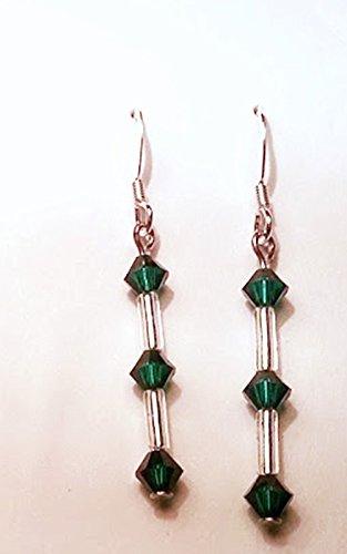 Emerald Green Triple Crystal Swarovski & Gold Color Bugle Bead Earrings