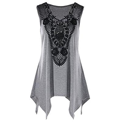 BCDshop Women Sleeveless Shirt V Neck Lace Patchwork Tank Top Blouse Plus Size L-XXL