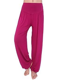 YMXING Womens Elastic Waist Modal Pants Belly Dance Yoga Pants Purple Red Size M