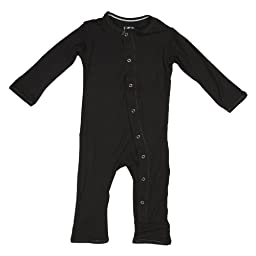 KicKee Pants Neutral Baby Onepiece Coverall Romper, Midnight Black, 3-6 Months