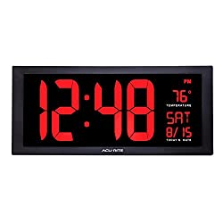 AcuRite 75100MA1 Large Digital Clock with Indoor Temperature | LED Wall Clock with Date and Fold-Out Stand ,Red, 18