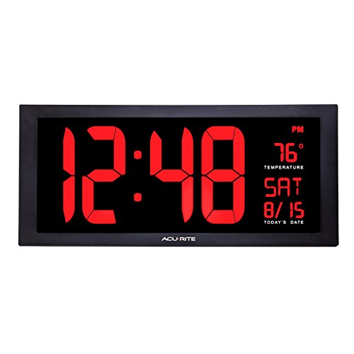 AcuRite 75100 Large Digital Clock with Indoor Temperature | LED Wall Clock with Date and Fold-Out Stand - 18""