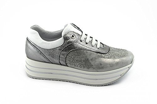 1155600 CO Laces Grigio Shoes Gray Platform Sneakers Leather Woman Steel IGI 05qdd
