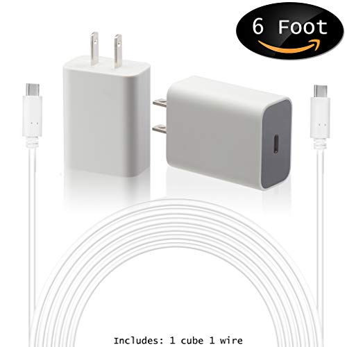 Google USB-C Charging Rapidly Charger for 2nd & 3rd Gen Pixel devices (18W 3A Charger + 6 Foot USB-C, C-C Cable)