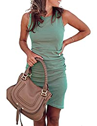 CAIYING Womens Summer Casual Solid Ruched Short Sleeve T-Shirt Midi Dress