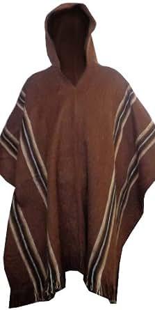 Gamboa Alpaca Poncho - Hooded, Brown, OS at Amazon Men's