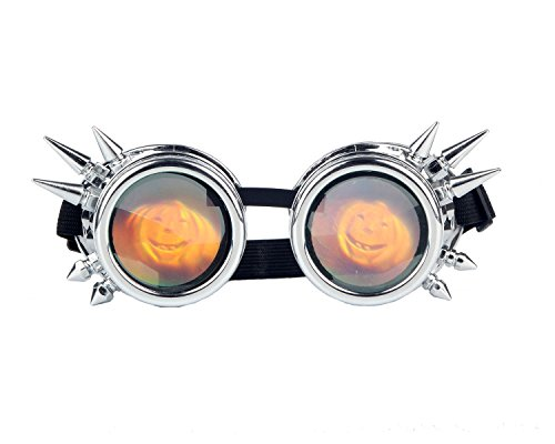 Kaleidoscope Rave Rainbow Crystal Lenses Steampunk Goggles Spike Halloween (One Size-Adjustable head band, Silver-cushaw Lens)