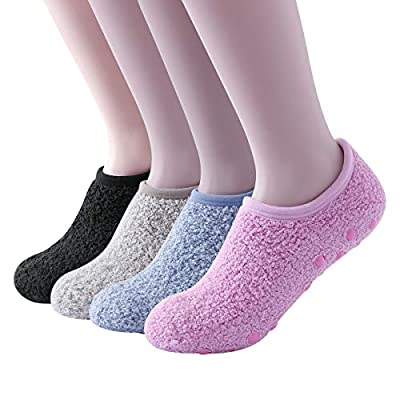 SKOLA 4 Cozy Winter Fuzzy Women Socks, Grip Slippers, Fluffy House Non Skid(Black/Light Khaki/Light Blue/Pink 4Pairs) at Women's Clothing store
