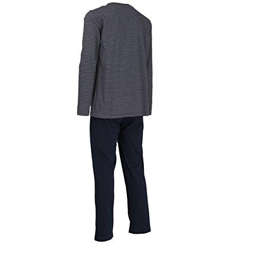 TOM TAILOR Herren Pyjama, Schlafanzug, Shirt und Hose, langarm, Baumwolle, Single Jersey, blau gestreift