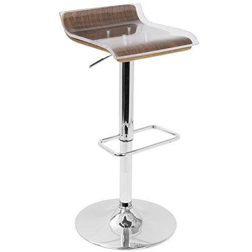 WOYBR BS-2TIER WL+CL Acrylic, Wood, Chrome 2-Tier Barstool