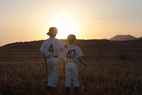 Two Boys in Baseball Uniforms Looking at Sunset Photo Art Pr