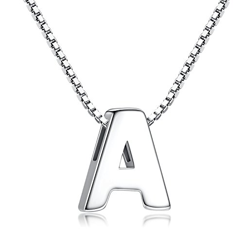 Candyfancy A Initial Necklace 925 Sterling Silver Alphabet Personalized A-Z Letter Pendant Necklace for Women Girls Gift with 18