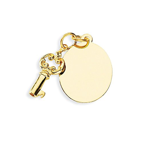 14k Yellow Gold Engraveable Disc Key Pendant Charm Necklace Fine Jewelry Gifts For Women For Her ()