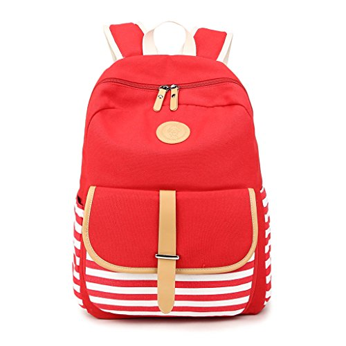 Girls Students Red Backpack Canvas Rucksack Striped Black Women Travel Jagenie 5BSxqZwZ